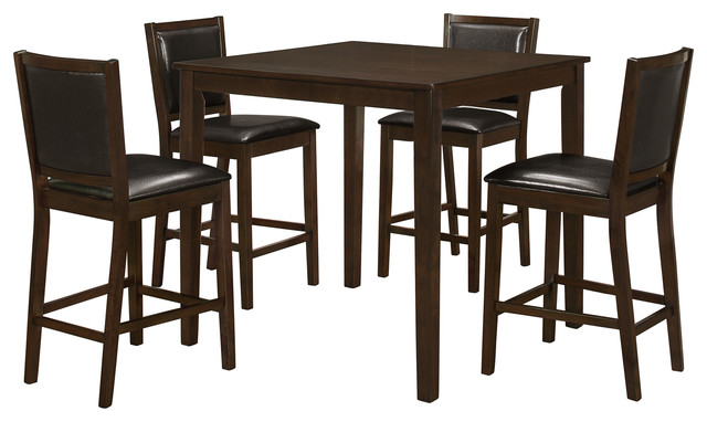 dining set 5 piece set walnut veneer counter height contemporary
