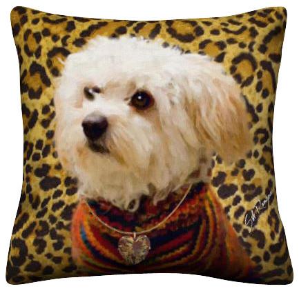 Decorative Dog Throw Pillows : Maltipoo Dog Throw Pillow - Contemporary - Decorative Pillows - by East to West Importers