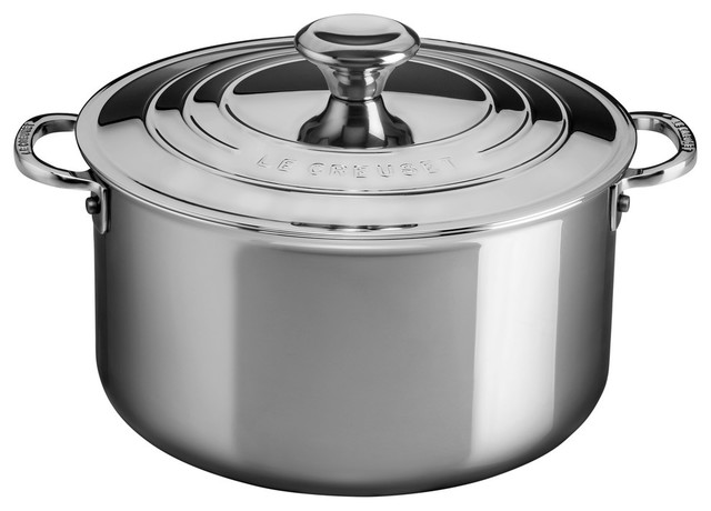 Le Creuset Tri-Ply Stainless Steel 6.3-Quart Stockpot With Lid.