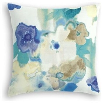 Blue and Aqua Watercolor Floral Pillow, 14'' Square