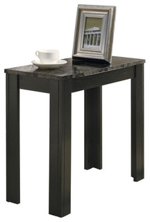 Accent Table, Black, Gray Marble