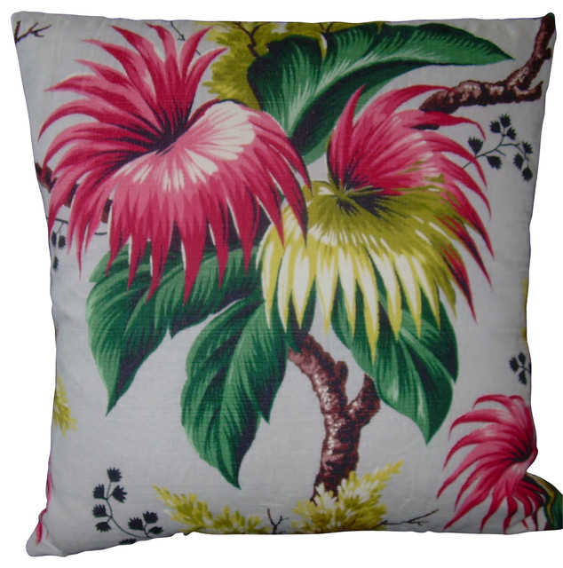 Passion Flower Barkcloth Pillow Cover Tropical Decorative Best Tropical Throw Pillow Covers