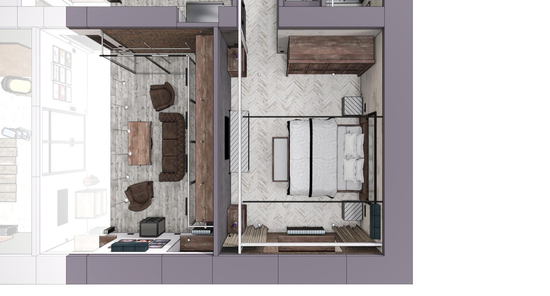 Квартира в Москве в стиле лофт, спальня, ванная и гардеробная. 2020 г.