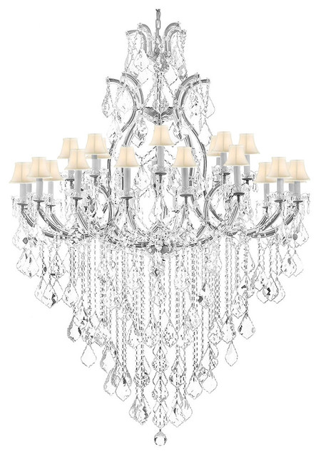 25 Light Crystal Chandelier Shades White Swarovski Frame Silver