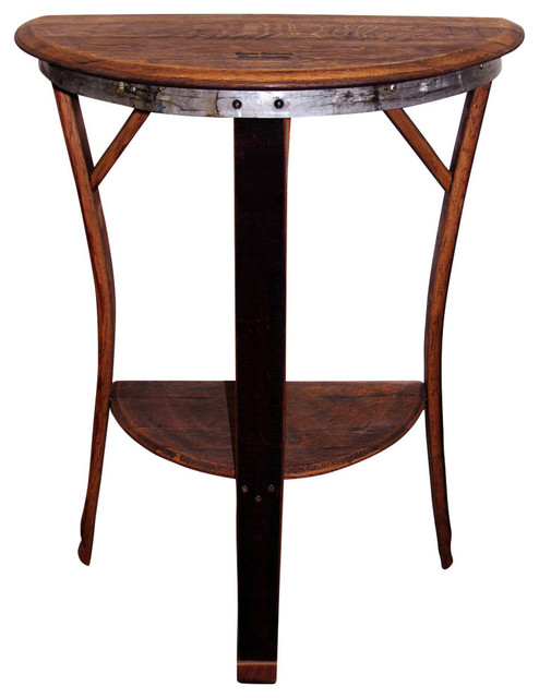 Half Moon Table wine barrel half moon table, tall - transitional - indoor pub and