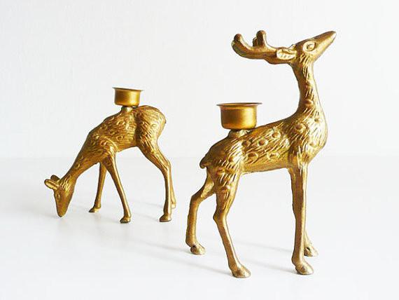 Vintage Brass Deer Candleholders by Kissa Vintage Design