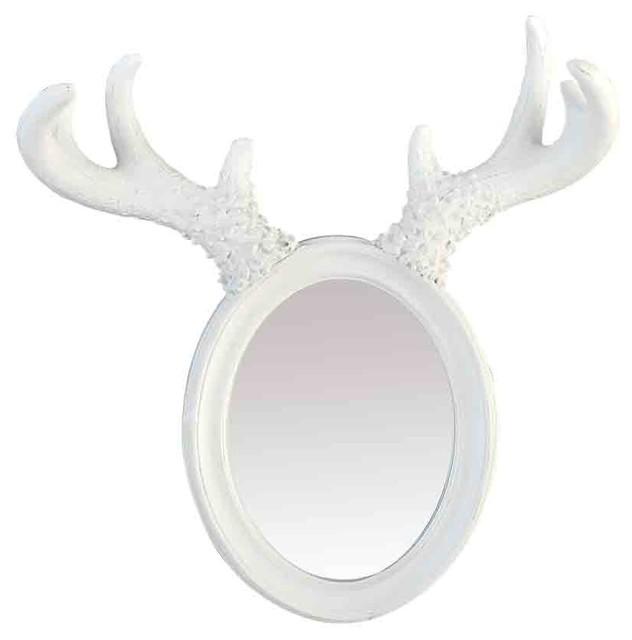 EMDE Horned Elk Mirror, White