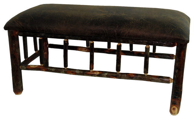 Rustic Hickory Upholstered Bench With Changeable Seat.