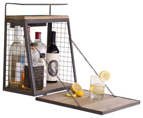 Shop Houzz | BSEID Wall-Mounted Wooden Minibar With Fold-Down Shelf - Wine And Bar Cabinets