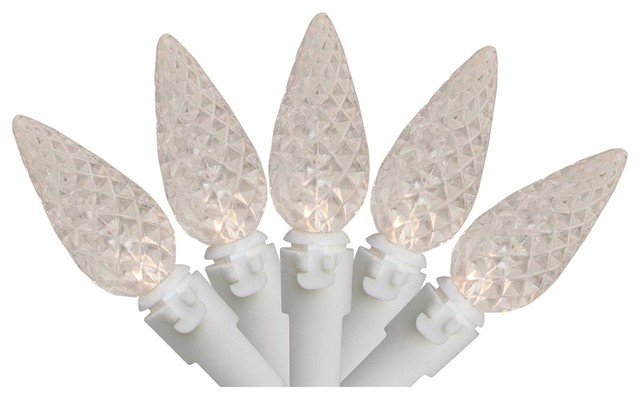 White Led C6 Christmas Lights - White Wire.