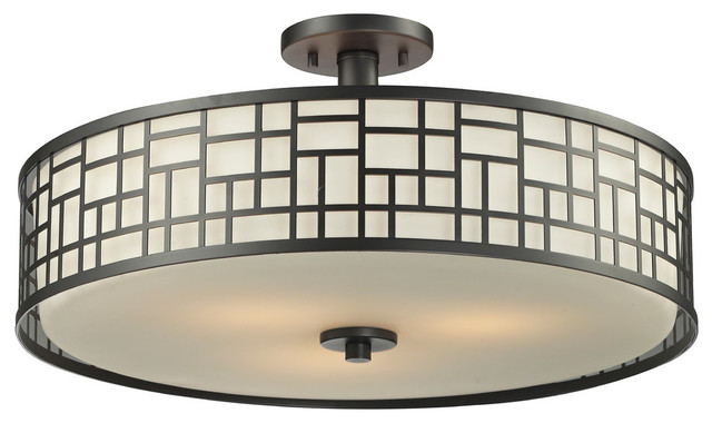 "Elea 3-Light Semi-Flush Mount, Bronze, Matte Opal Glass, 20.5""."