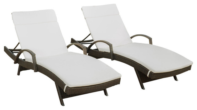 Gdf Studio Olivia Outdoor Chaise Lounge Chair With Off White Cushion Set Of 2 Tropical Lounges By Gdfstudio
