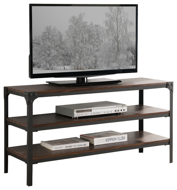 Antique Walnut Wood And Black Metal Tv