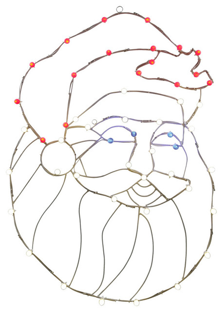48x34 Led Santa Head Wire Motif.