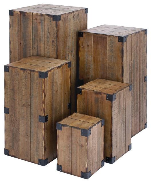 Organic Wood Pedestals 5 Piece Set Brown
