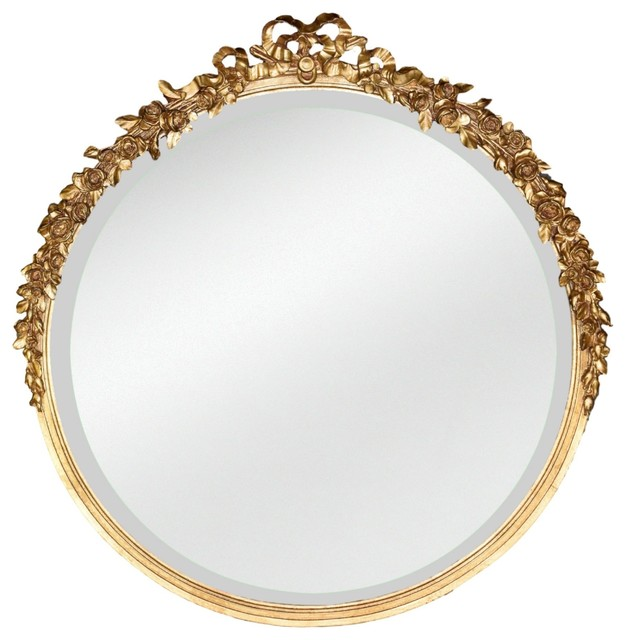 "Diana Rose Mirror, Gold Leaf, 31""x30""."