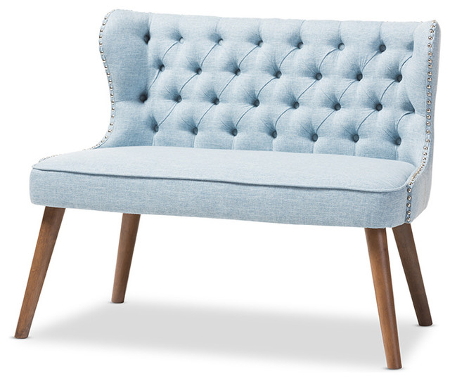 Scarlett Upholstered Accent Chair With Tuffting, 2 Seater, Light Blue  Midcentury Armchairs