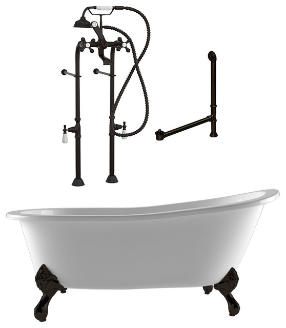 "67"" Cast Iron Clawfoot Slipper Tub & Freestanding Faucet Plumbing Package- ORB"