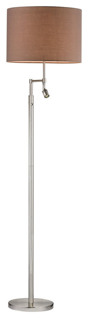 Beaufort Collection 3-Light Led Floor Lamp, White Faux Silk Shade, Satin Nickel.