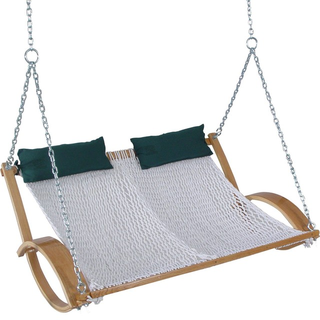 Curved Arm Double Rope Swing Beach Style Porch Swings
