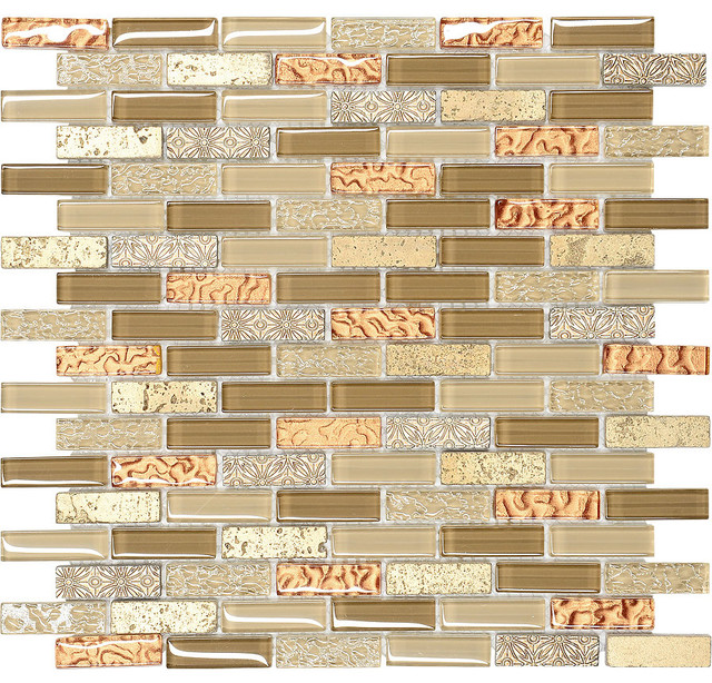 Brown Gold Gl Travertine Mosaic