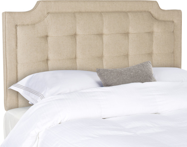 Safavieh Sapphire Tufted Linen Headboard, Hemp, Queen.
