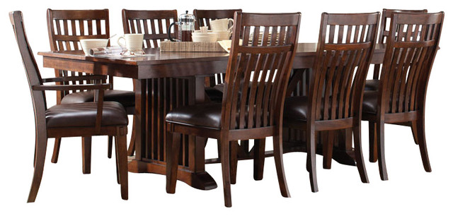 standard furniture artisan loft 9-piece dining room set, aged
