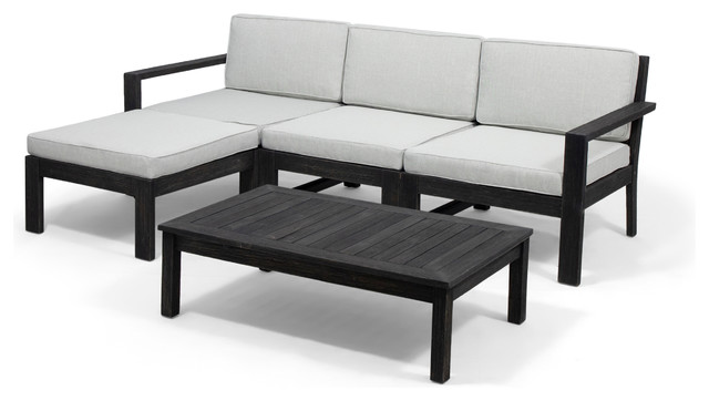 Makayla Ana Outdoor 3 Seater Wood Sofa Sectional With Cushions, Light Gray