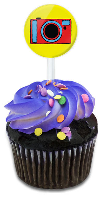 Camera Travel Picture Cupcake Toppers Picks Set.