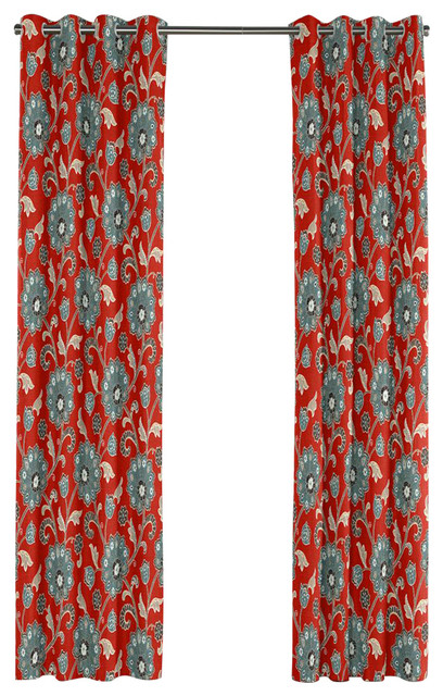 Shop Houzz Loom Decor Modern Aqua And Red Floral Grommet