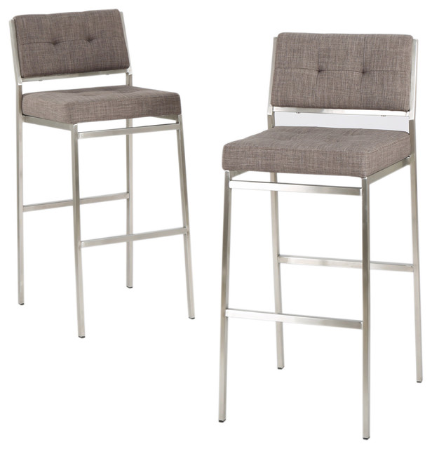 Kyoto Light Gray Fabric Bar Stools Set Of 2
