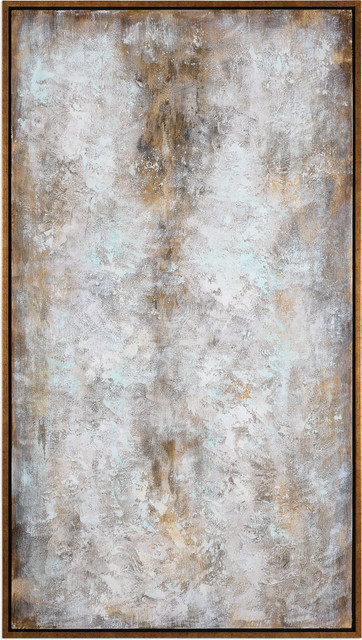 """Blizzard 74"""" Abstract Wall Art Canvas/gold Leaf."""