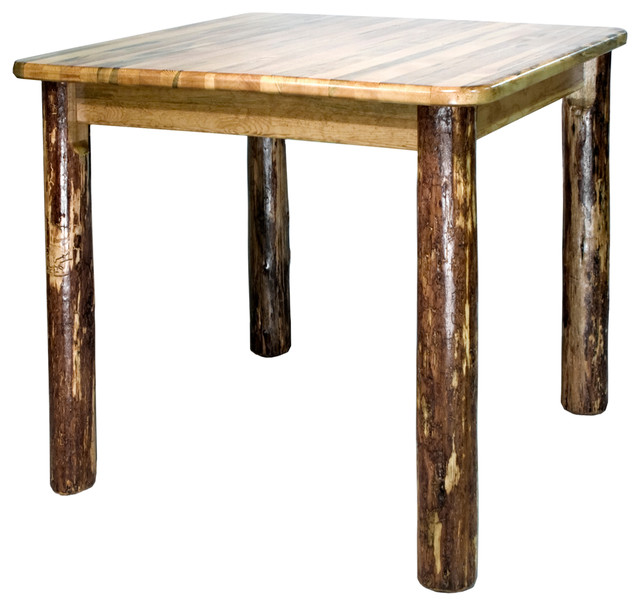 Glacier Country Counter Height Square 4 Post Dining Table Rustic