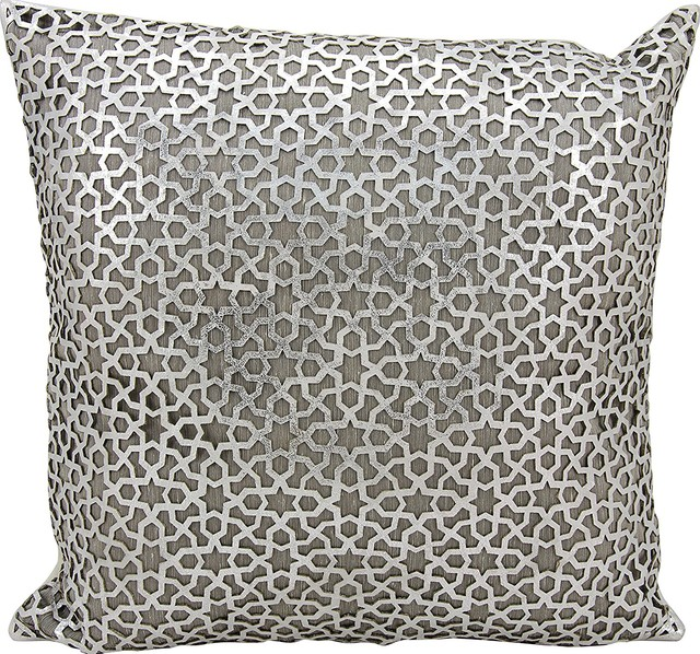 Mina Victory Couture Natural Hide Arabic Geometric Silver/White Throw Pillow