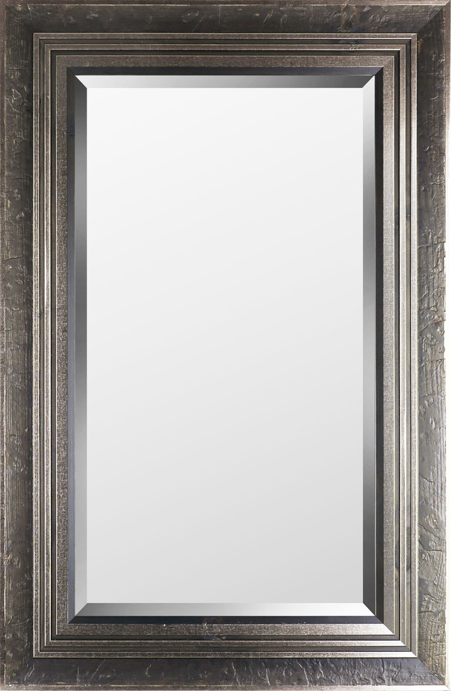 29 25 X45 25 Silver Stucco Wood Plain Mirror By Mirrorize Canada Transitional Bathroom Mirrors By Artmaison Canada