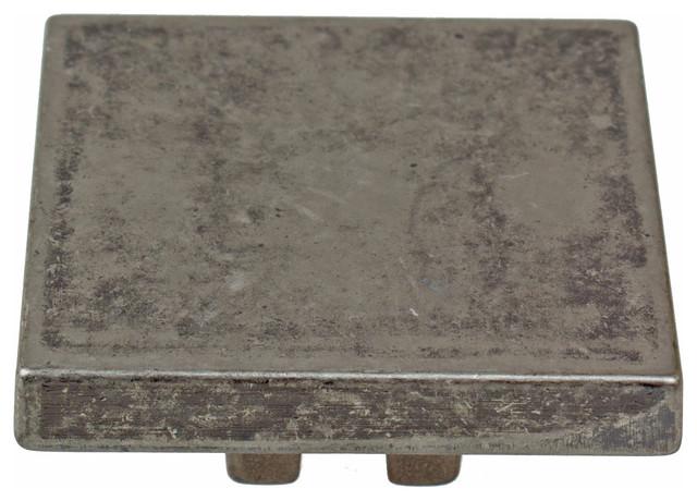 "1-1/2"" Small Thin Square Cabinet Hardware Knob, Weathered Nickel"