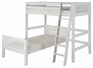 Camaflexi Twin over Twin Loft Bed, L Shape, Mission Headboard, White