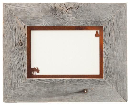 5x7 barnwood frame with corner image rusted metal mat 5x7 moose