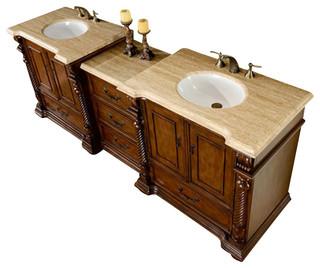 """92"""" Traditional Double Sink Bathroom Vanity"""
