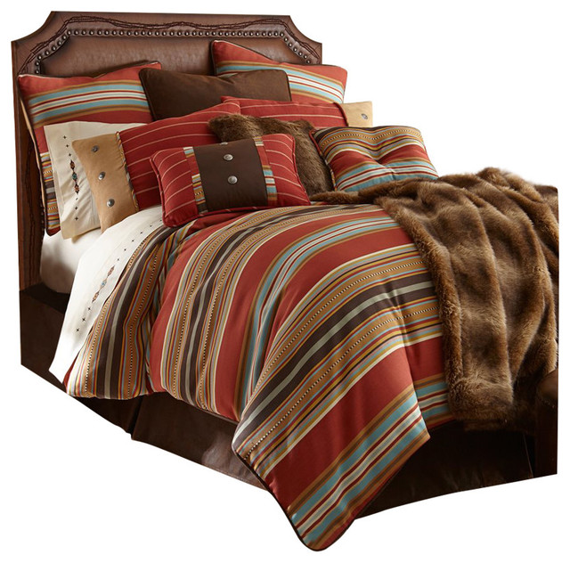 Southwestern Pillow Shams : 4-Piece Calhoun Twin Bedding Set - Southwestern - Decorative Pillows - by HiEnd Accents