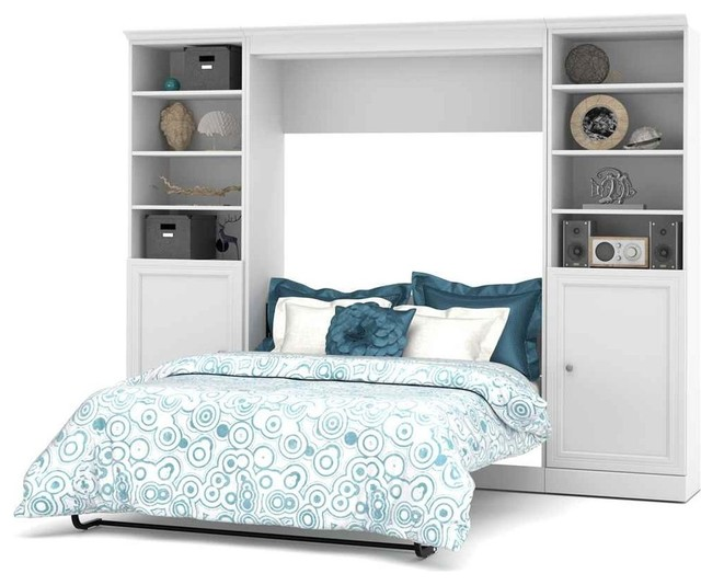 Shop Houzz Bestar 109 Full Wall Bed With Storage Unit White Bedroo