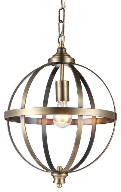 1-Light Brushed Bronze Globe Pendant Chandelier Fixture Glam Lighting
