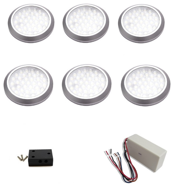 macLEDs 6 Piece Puck Light Kit With Hard Wired Transformer - Undercabinet Lighting | Houzz
