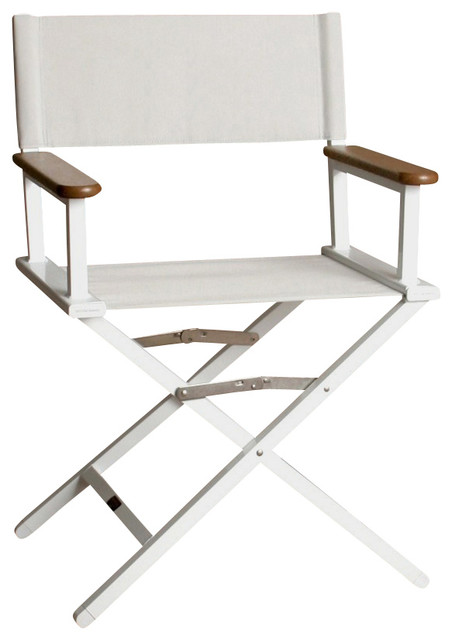 Superieur Monterey Silver Director Chair W White Frame