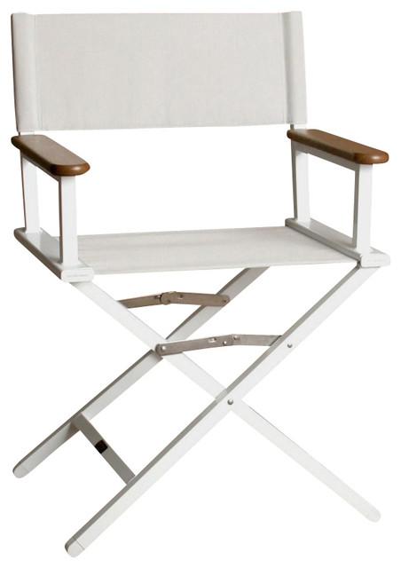 Gentil Monterey Silver Director Chair W White Frame