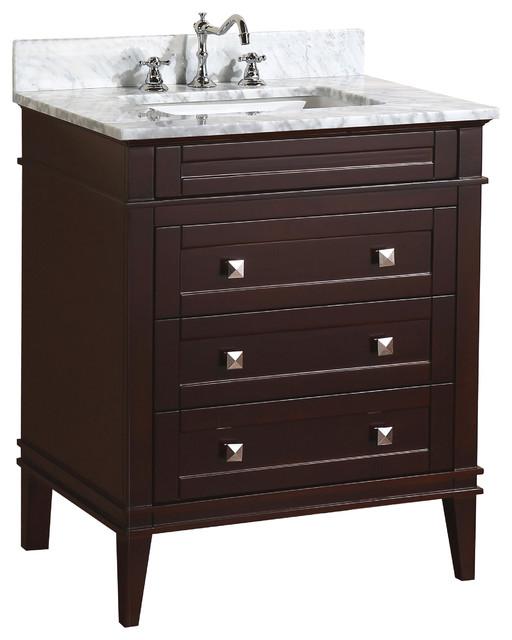 "Eleanor 30"" Bathroom Vanity, Chocolate, 30"", Carrara Marble Top"