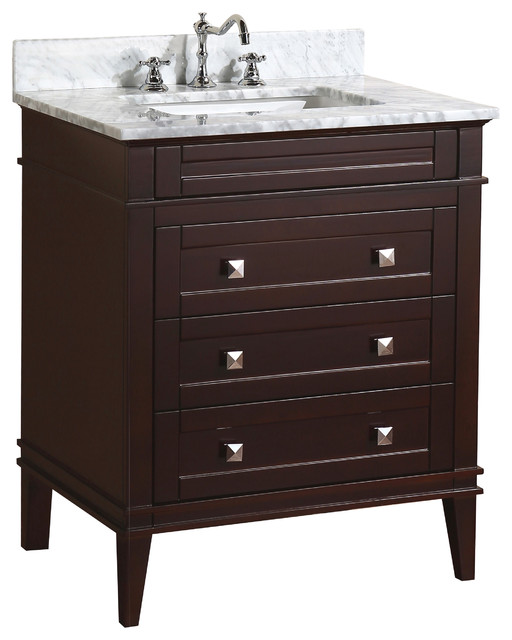 "Eleanor Bathroom Vanity, Chocolate, 30"", Carrara Marble Top"