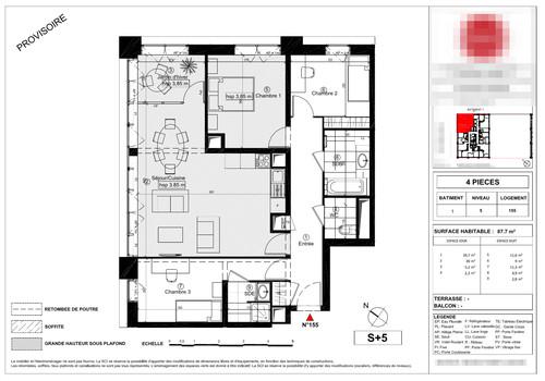 Modification plan appartement en vefa for Chambre 7 metre carre
