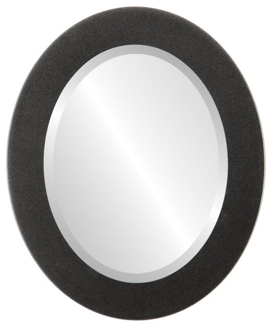 ... Framed Oval Mirror in Black Silver, 16u0026quot;x20u0026quot; contemporary-wall-mirrors