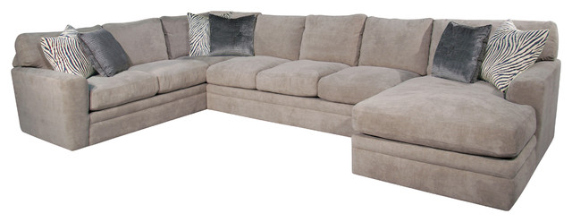 seville 3 piece sectional grey right - 3 Piece Sectional Sofa
